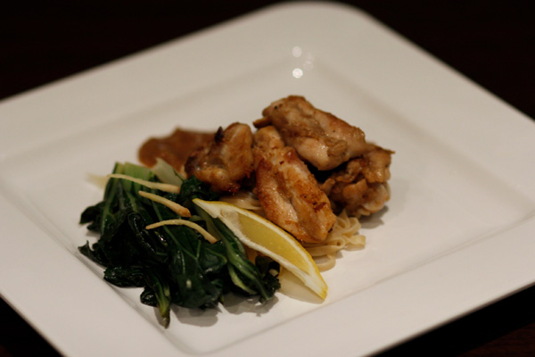 Crispy Chicken with Salty Satay and Ginger Bok Choy