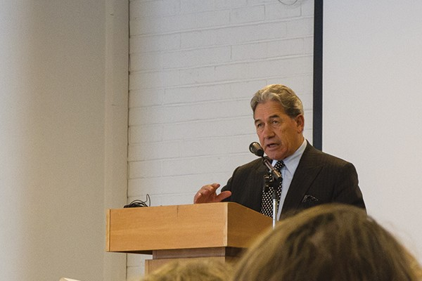 Winston Peters Speaks at Otago Uni, Doesn't Like Tomato Sauce