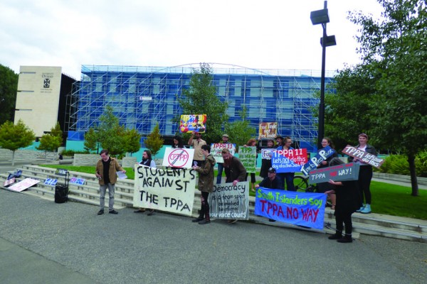 CPTPP Protest Outside the Convocation Ceremony